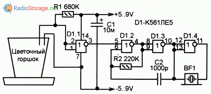 Принципиальная схема сигнализатора засыхания почвы в горшочке комнатного растения