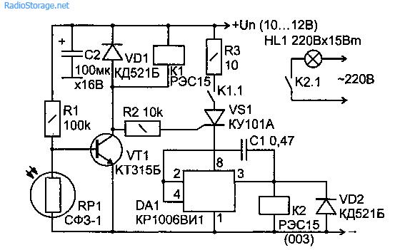 Электрическая принципиальная схема фотореле на основе таймера КР1006ВИ1