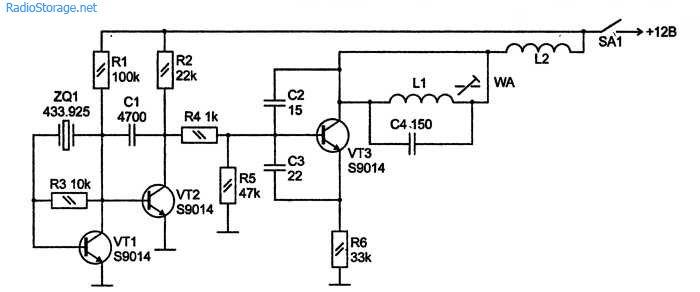 Схема передатчика радиозвонка