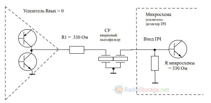 Идеальная схема включения пьезофильтра CF.