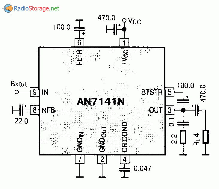 Микросхема AN7141 - усилитель низкой частоты (0,9Вт при 4-10В): http://radiostorage.net/?area=news/3374