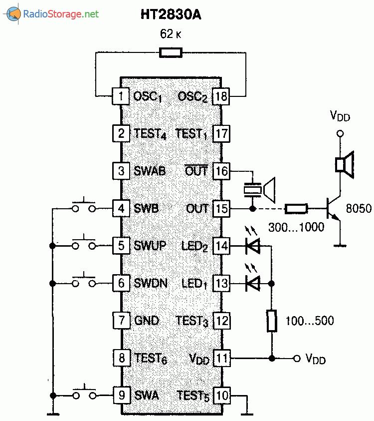 Микросхема HT2830 - генератор звукового сигнала, схема