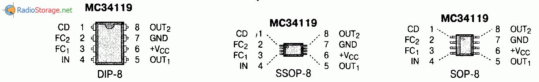 Микросхема MC34119 - малошумящий УНЧ (55-400мВт при 2-16В), схема