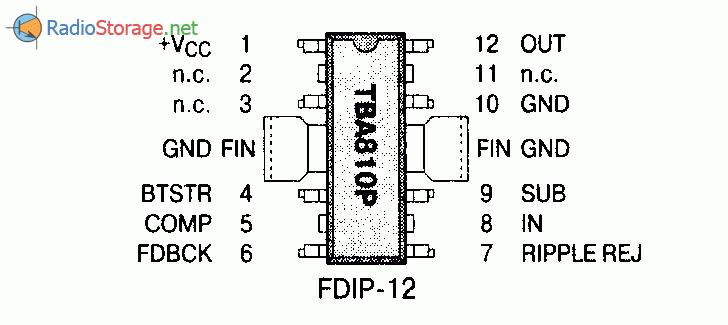 Микросхема TBA810P - усилитель