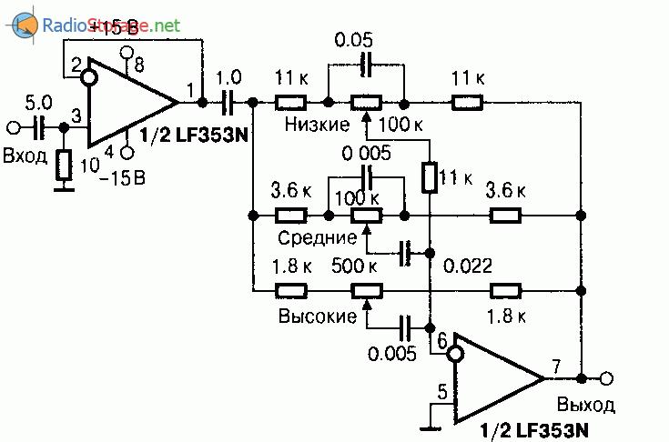 двухканальный ОУ, схема