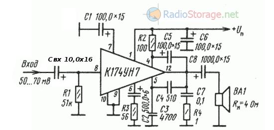 Типовая схема включения микросхемы К174УН7