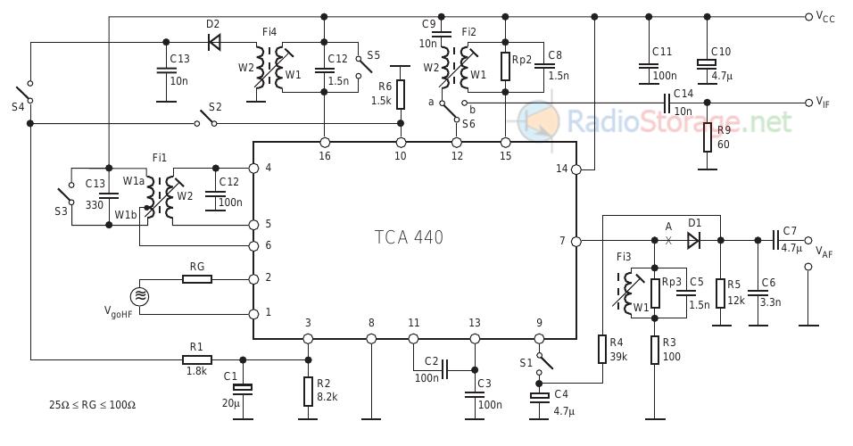 Типовая схема включения импортной микросхемы TCA440
