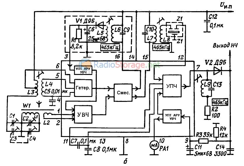 Типовая схема подключения интегральной микросхемы К174ХА2