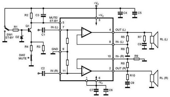 Схема усилителя на TDA7265 с