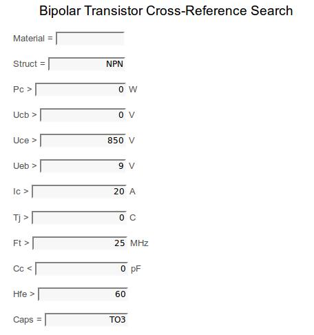 Примерные параметры для поиска замены транзистору NTE53