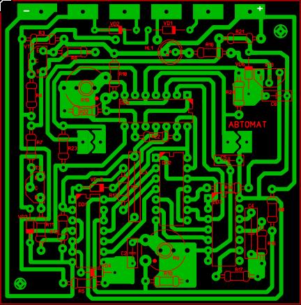 Печатная плата в формате Sprint Layout 6 для схемы зарадяного устройства Кедр-Авто-4А