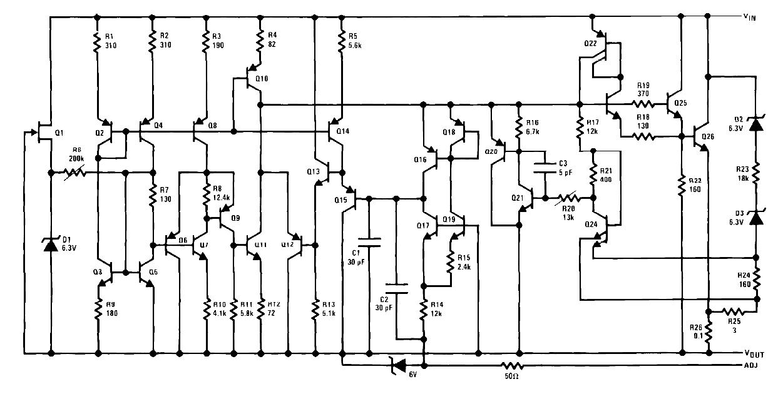 Внутренняя схема кристалла микросхемы LM117, LM317-N