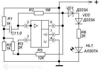 Схема генератора для проверки работоспособности операционных усилителей (ОУ)