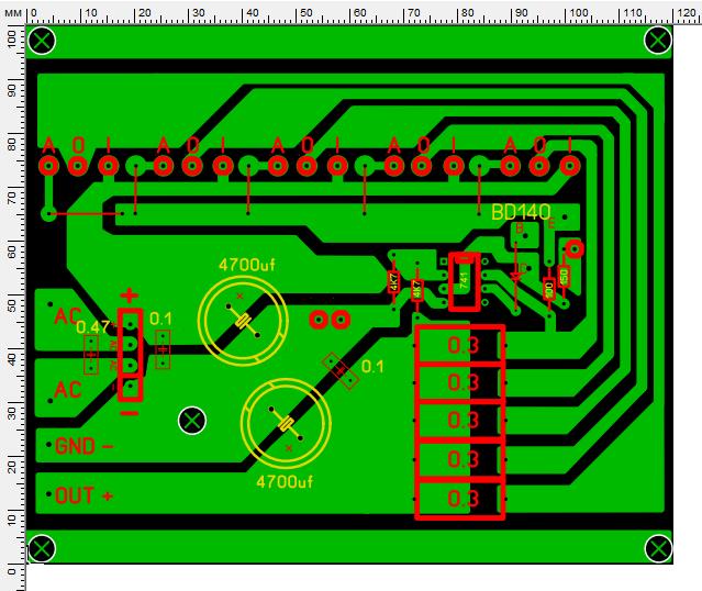 Печатная плата для схемы мощного блока питания на микросхемах LM338