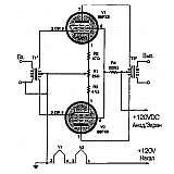 Схема простого двухлампового УНЧ на лампах 60FX5
