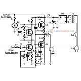 Схема мощного гитарного усилителя на транзисторах TIP142 и TIP147 (60Вт)