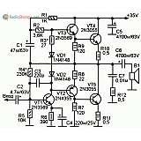 Схема УМЗЧ на пяти транзисторах и с однополярным питанием (60W)