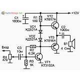 Простой усилитель ЗЧ на трех транзисторах, схема (КТ3102, КТ816, КТ817)