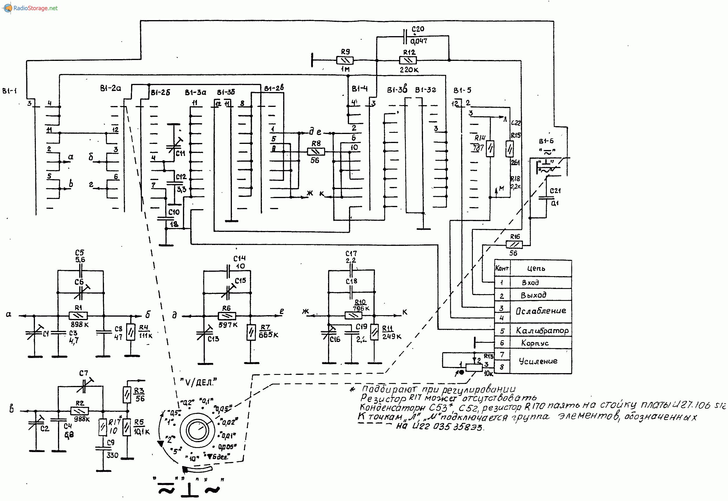 электрическая схема осциллографа с1-63