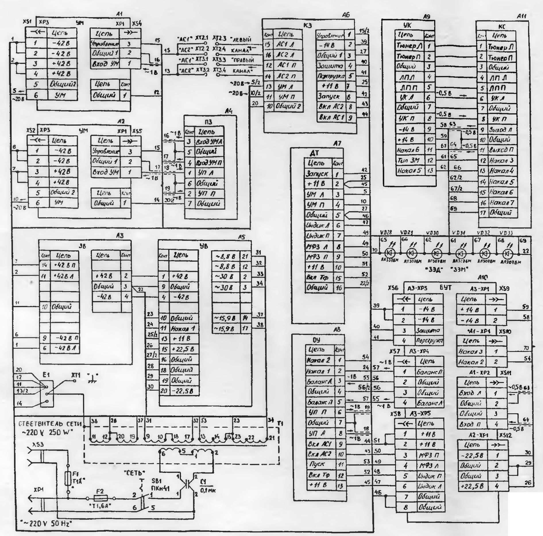 Схема усилителя корвет-100у-068с