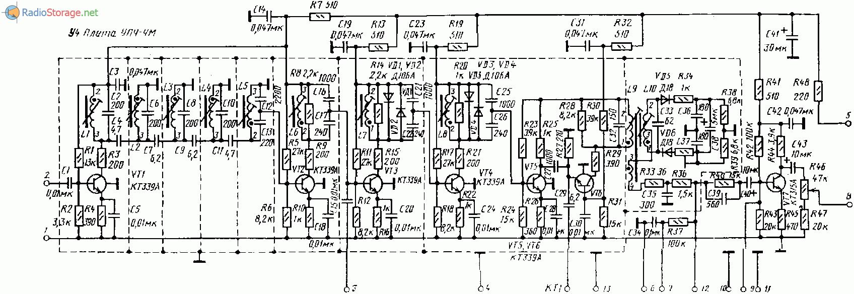 Магнитофонный усилитель схемы
