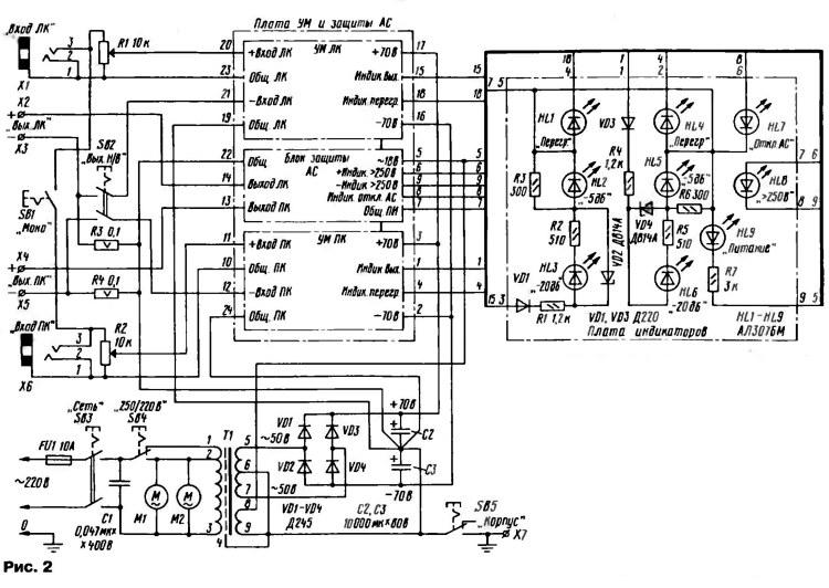 Принципиальная схема источника питания, блока индикации и межблочных соединений УМЗЧ на 400 Ватт