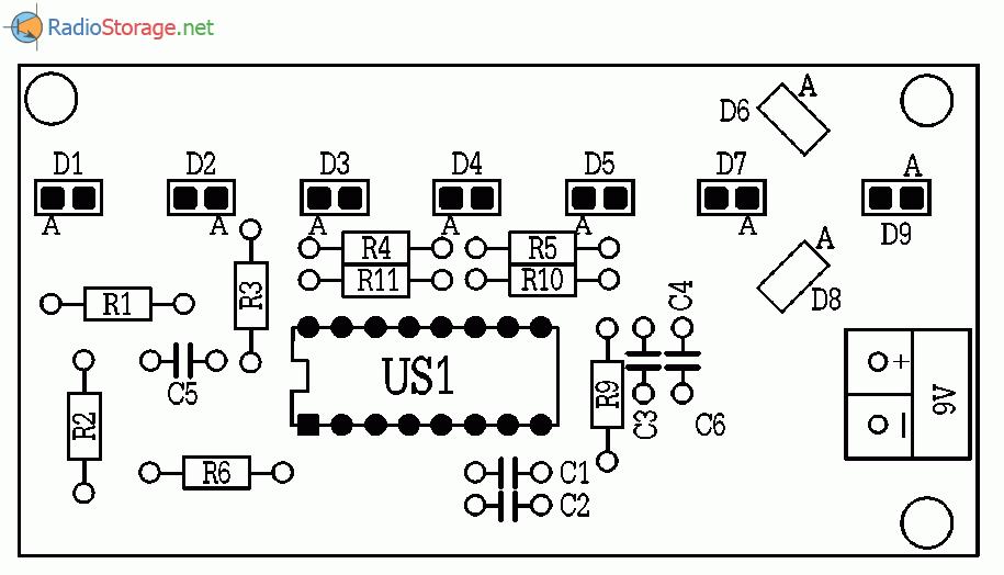 на светодиодах, схема