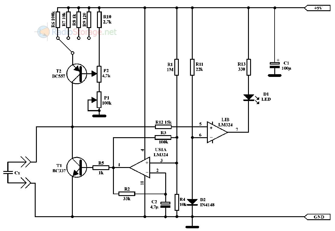 Схема измерения емкости конденсатора