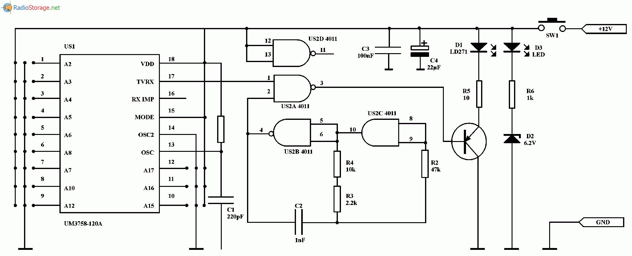 приемник пульта дистанционного управления схема