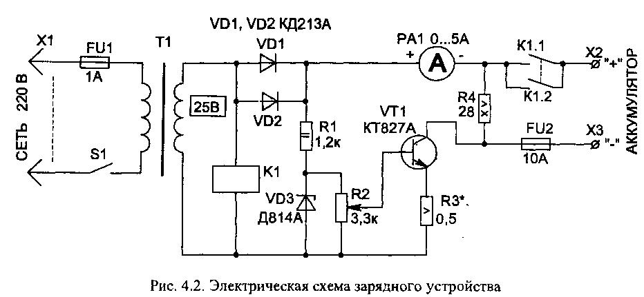 схема принципиальная электрическая пуско-зарядного устройства Пульсар