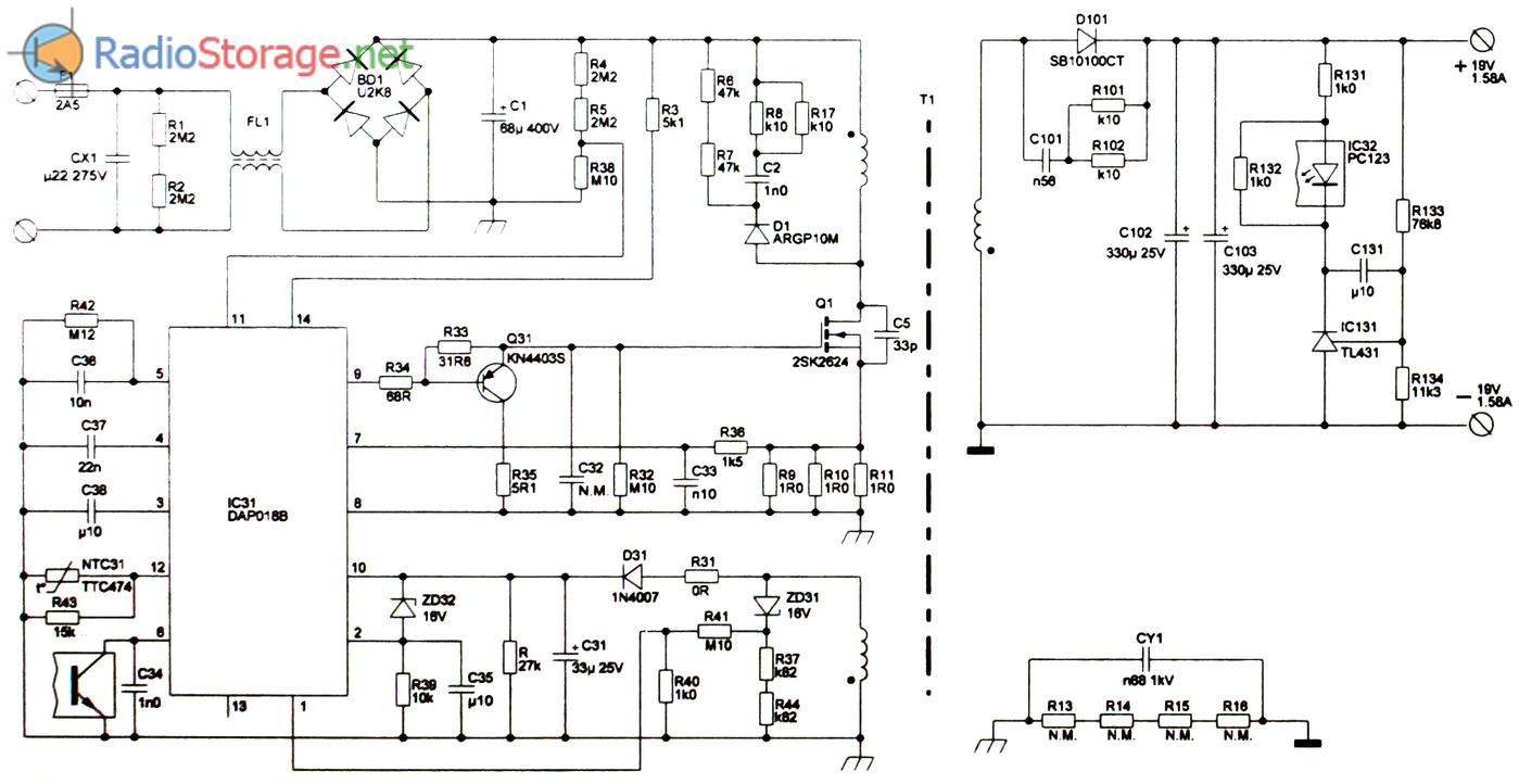 Схема платы ADP-30JH универсального блока питания мощностью 30W с выходным напряжением 19V