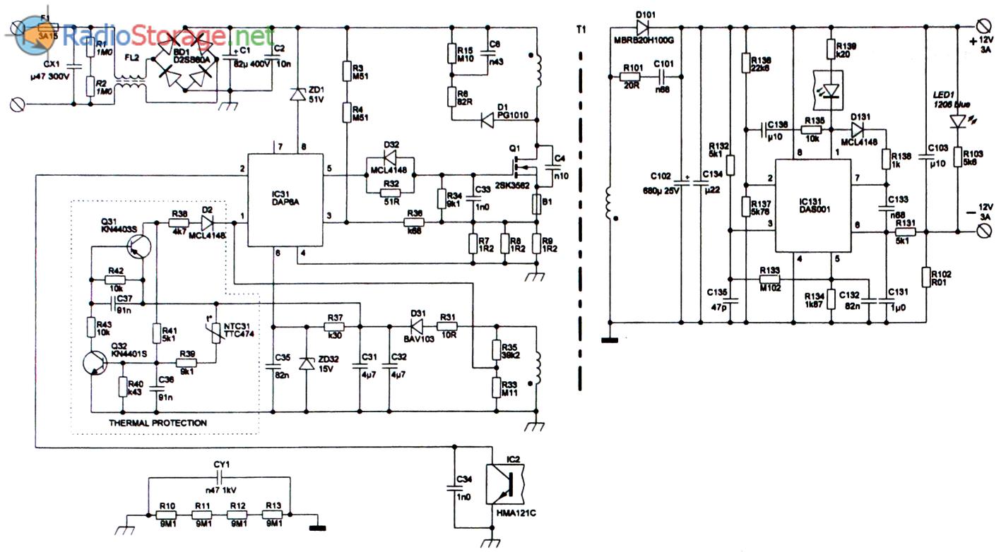 Схема платы ADP-36EH универсального блока питания мощностью 36W с выходным напряжением 12V