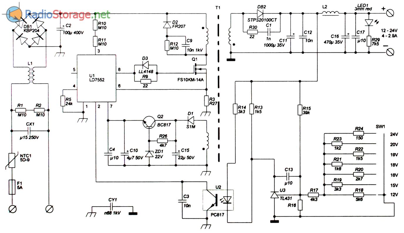 Схема универсального блока питания SCAS2004, плата EWAD70W с переключаемым выходным напряжением, мощностью 70W