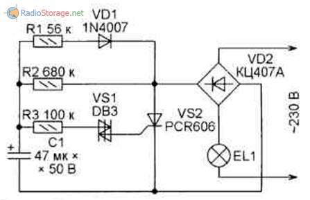 Вариант 3 схемы мигалки для лампы на 220В