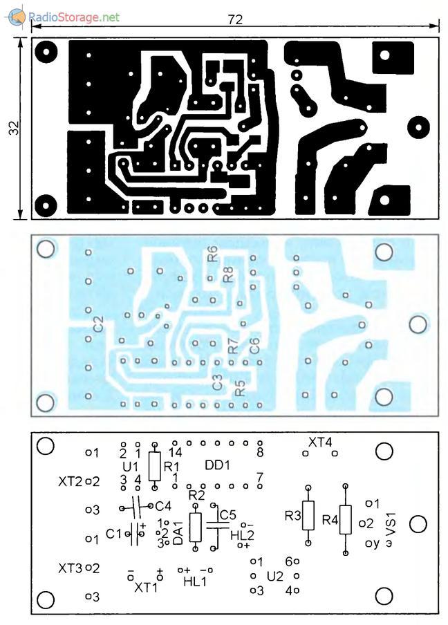 Печатная плата для схемы реле с симистором на выходе
