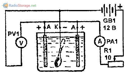 Простейшая схема включения гальванической ванны