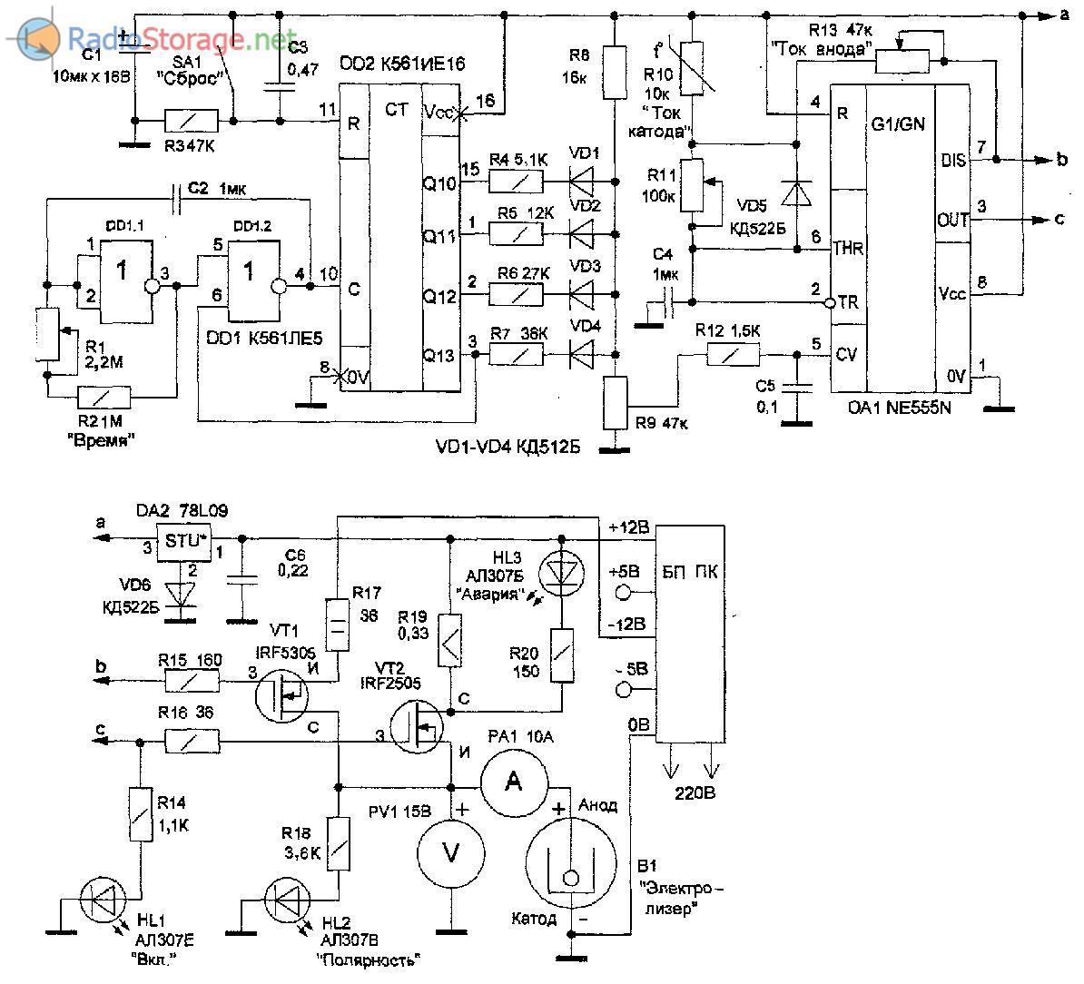 Принципиальная схема электролизера