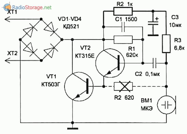 Схема подключения электретного микрофона с увеличенным коэффициентом усиления
