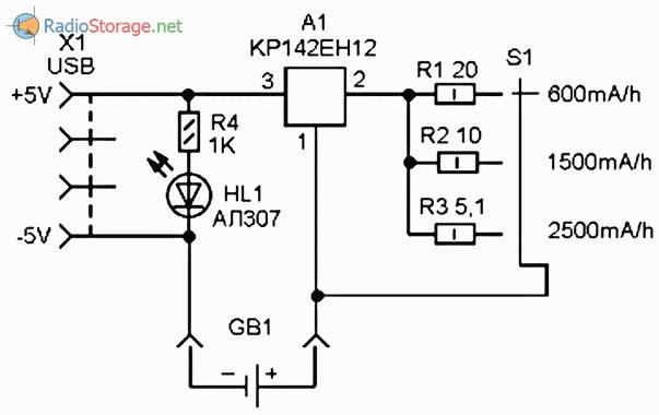 Принципиальная схема приставки к блоку питания на +5В для зарядки NiCd и NiMH аккумуляторов