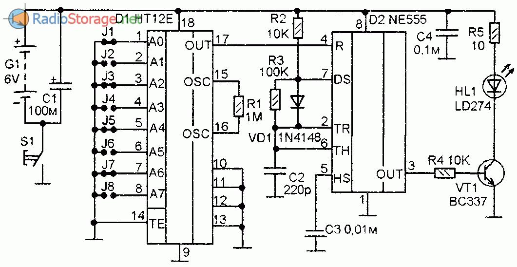 Дистанционное управление на ИК-лучах (HT12E, HT12D, NE555)