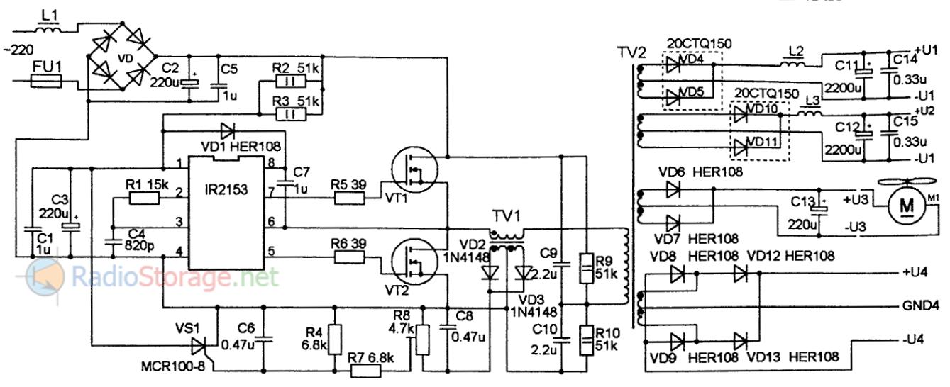 Принципиальная схема импульсного сетевого блока питания для усилителей НЧ на 100-500Вт