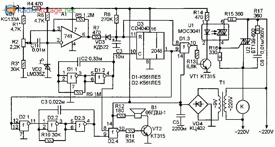 Схема электронного блока управления температурой для старого холодильника