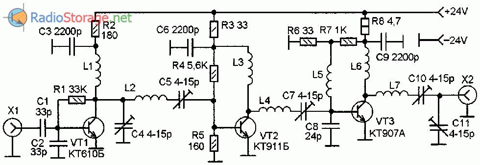 Принципиальная схема усилителя мощности ВЧ для УКВ радиостанции на диапазон 430МГц (6 Вт)