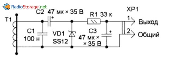Схема датчика на основе диодного однополупериодного выпрямителя