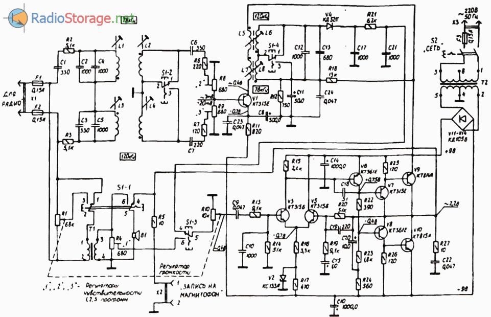 Принципиальная схема трехпрограммного приемника Электроника ПТ-203