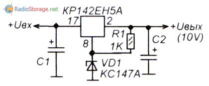 Схема интегрального стабилизатора с фиксированным напряжением на выходе