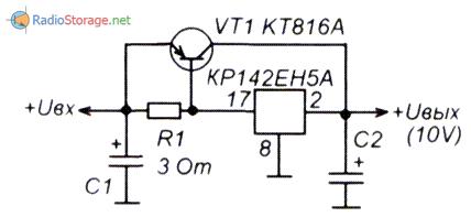 Принципиальная схема базового варианта стабилизатора с умощнением