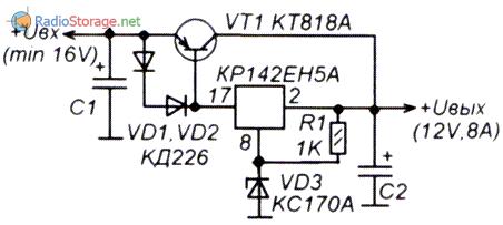 Схема стабилизатора напряжения 12 Вольт с максимальным током 8 Ампер, микросхема и транзистор