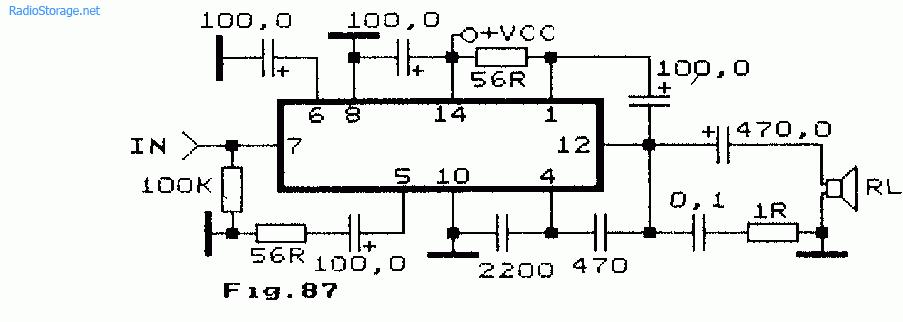 Схема УНЧ с питание от батарей