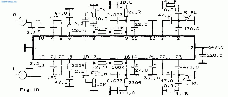 Схема: Стерео комбинированный усилитель для плеера на AN7106K. принципиальная схема.